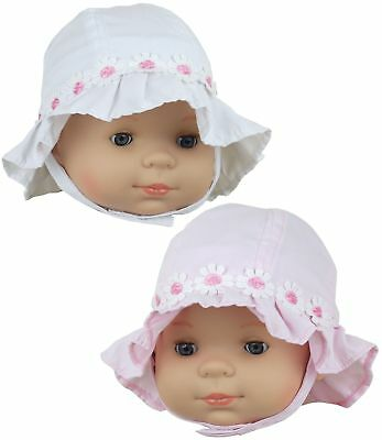 BabyPrem Baby Clothes Girls Summer Sun Hats White Pink Hat 000 & 00 (0-3 & 3-6M)