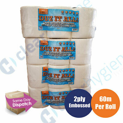 6-48 Rolls x 60m Per Roll White Centrefeed / Kitchen Roll Towel Embossed 2ply