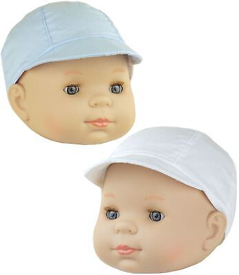 BabyPrem Baby Clothes Boys Blue White Summer Sun Cap with Peak Hats 0 - 18m