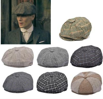 New 8 Panel Newsboy Gatsby Baker Boy Tweed Herringbone Flat Cap Peaky  Blinders f89a0a97de9