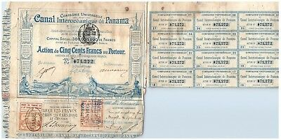 1880 France / French Canal Interoceanique de Panama w Coupons - #71,272
