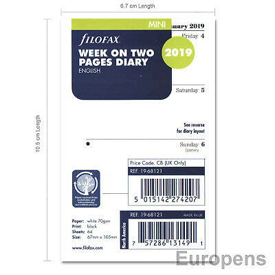 Filofax Mini 2019 Week On Two Pages Diary Insert English (68121)