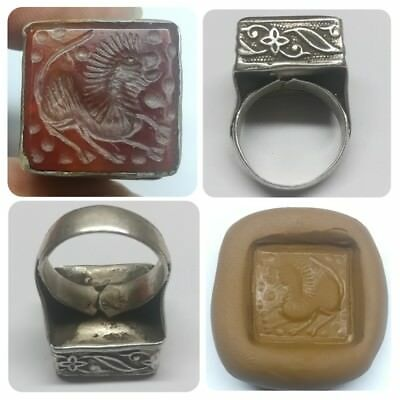 Wonderful Antique Medieval Animal Silver Old Agate Stone Unique Ring Size 10 US.