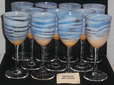 Steven Maslach Signed Volcano Art Glass Set Of 11 Wine Goblets New Unused