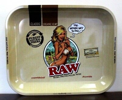 RAW LARGE Metal Rolling Tray Rolling Paper Girl Logo~AMAZING~New Release 13x11