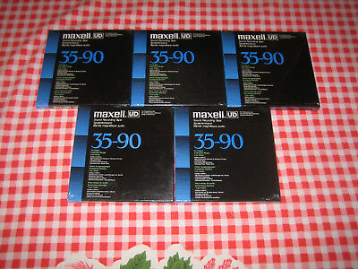 Excellent Lot of 5 New NOS Maxell UD 35-90 (n) reel tapes