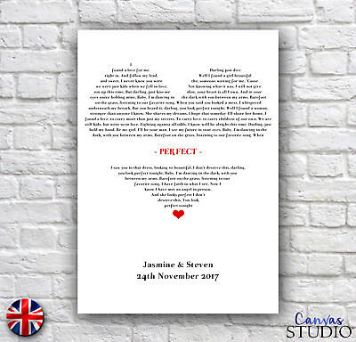 Personalised Memorable Song Words Lyrics Wedding Anniversary Gift Present Print