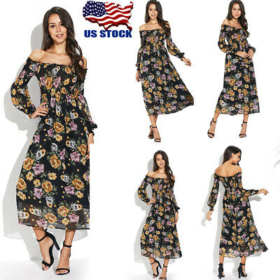 Women Off Shoulder Long Maxi Dress Party Boho Beach Dress Floral Ruffle Sundress