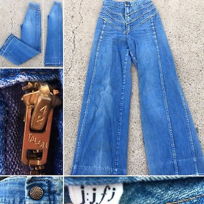 "Vintage Jeans jjfj Bells Bell Bottom Wide Leg High Waist 60s 70s USA 24"" Waist"