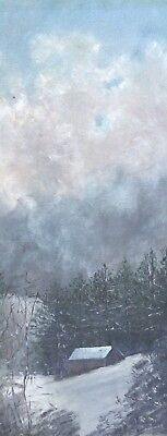 ANTIQUE ORIGINAL OIL PAINTING SIGNED 1911 Cabin In The Woods Winter Snow Trees