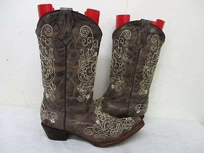 c5d8bc05826 CORRAL WESTERN BROWN Leather Embroidery Butterfly Cowgirl Boots ...