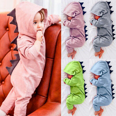 2018 NEW Newborn Infant Baby Dinosaur Hooded Romper Jumpsuit Clothes Outfit