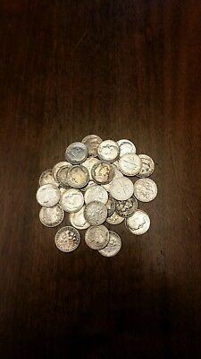 (50) SILVER ROOSEVELT AND LIBERTY  DIMES  $5 roll   MIXED DATES & MINTS