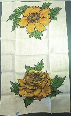 "Vintage Embroidered 43"" Linen Table Cloth Runner Wild Flowers 1950's"
