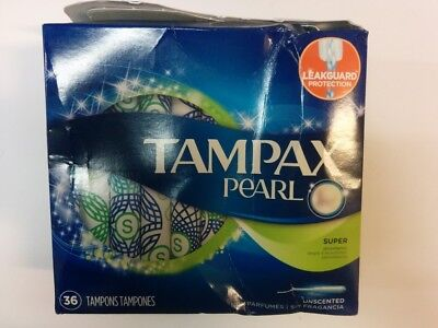 Tampax Pearl Plastic Super Absorbency Tampons, Unscented, 35 Tampons - Open Box