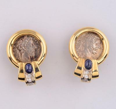 Authentic Ancient Roman Silver Denarius Coins in Gold & Diamond Earrings