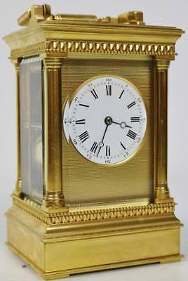 Original Antique 8 Day French Bronze Repeat Striking Carriage Mantel Clock C1860