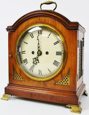 Antique English Regency Twin Fusee Walnut 8 Day Gong Striking Bracket Clock 1830