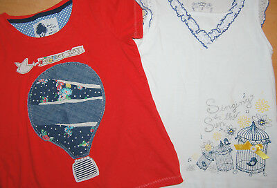 2er Set Shirts Gr. 110/116 Next: Heißluftballon, Pumpkin Patch: Glitter, Vögel