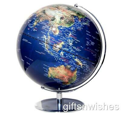 STUNNING Educational World Globe Clear Blue Satellite View 30cm Home Decor Gift