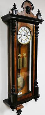 Antique Twin Weight Carved Walnut & Ebonised Vienna Wall Clock German 8 Day