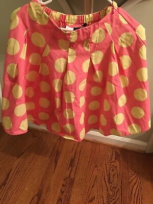 Mini Boden Girls Pink Yellow Polka Dot Skirt Pleated 9-10 Y Easter Spring.