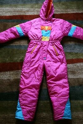 6dd938fadae5 VINTAGE PARAMOUNT KIDS IRIDESCENT PINK ONE PIECE SNOW SUIT sz 14 ...