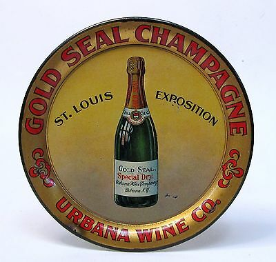 GOLD SEAL CHAMPAGNE URBANA WINE CO tin litho tip tray 1904 St. Louis Worlds Fair