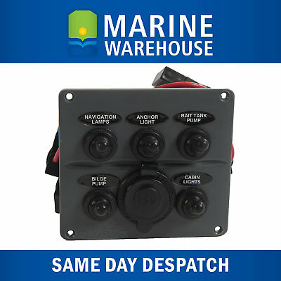Switch Panel 5 Gang W/ 12V Power Socket - Water Resistant - Tinned Wire 705711