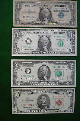 US $1 BLUE SEAL $1 BARR $2 GREEN SEAL $5 RED SEAL NOTES (lot #MK-0026)