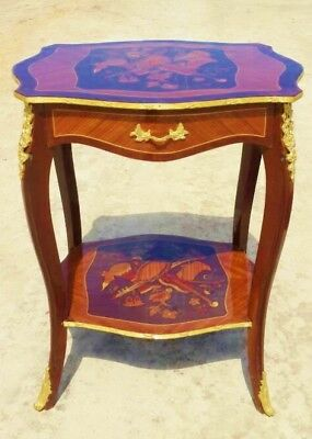 Gorgeous Marquetry Louis XV style French  side table