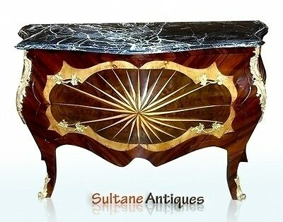MAJESTIC VERY Large Louis XV style marble top marquettery Commode