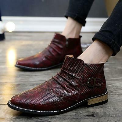 f1f29a89c New Mens British Snakeskin Pattern Zipper Pointed Toe Casual Ankle Boots  shoes