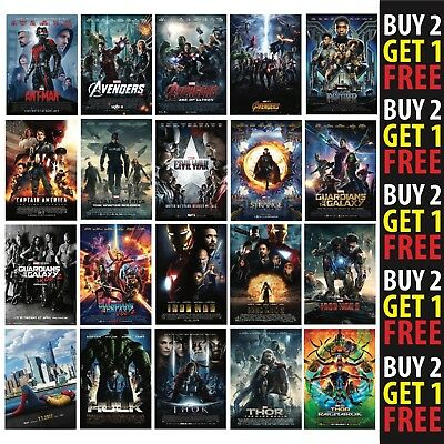 MARVEL MOVIE POSTERS A0 A1 A2 440gsm Material Poster Film Wall Decor Fan Art