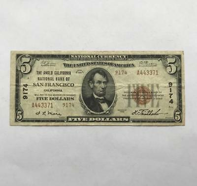 Ungraded 5$ Bill. National Bank of SF.!! Series 1929.!! NR.!!