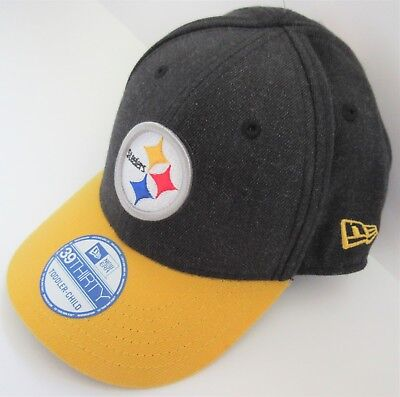 Pittsburgh Steelers New Era NFL 39THIRTY Toddler Child Black Flex Fit Hat - NWT