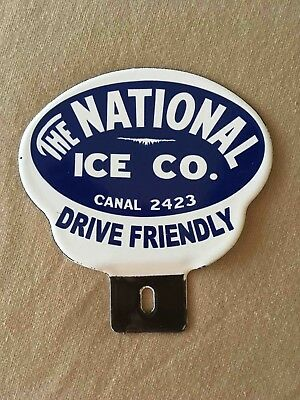 Vintage NOS Unused The National Ice Co. Advertising License Plate Topper