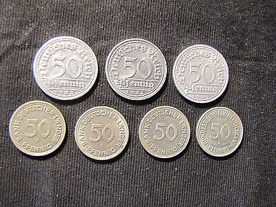 Lot of 7 Germany 50 Pfennig Coins - 1919-A, 1922-F, 1922-J, 1949-D, 1949-F, 1949