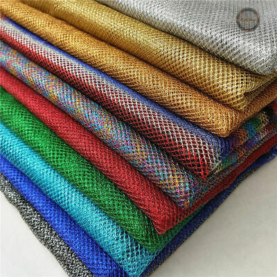 Metallic Mesh Fabric Sparkle Glitter Fish Net Tulle Stretch Craft Material Decor