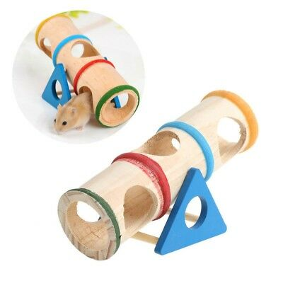 Wooden Colorful Seesaw Cage House Hide Play Toy For Hamster Mouse Mice Pet GL