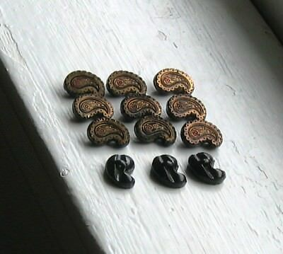 12 Rare Gold Luster Paisley Shaped Czech Black Glass Buttons