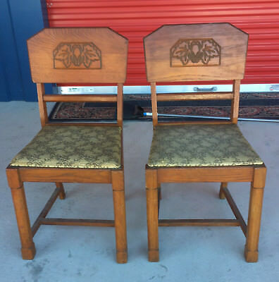Chairs: (2) Wood and Cloth with Leaf and Fruit patron Impressed Local Pickup