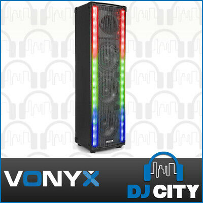 Vonyx LightMotion 80 Portable 600W Party Karaoke Speaker w/ LED Light Show & BT