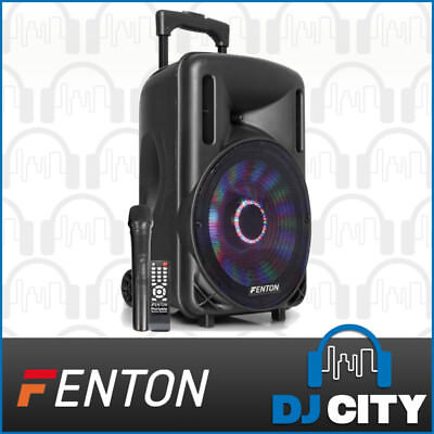 Fenton FT10LED 10-Inch Party DJ Powered Speaker 450W w/ Battery & LED Light Show