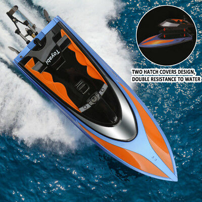 2.4G Water Cooling High Speed RC Self Right Racing Boat Outdoor+2 Batteries LED