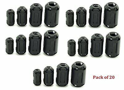 20 Ring Core Ferrite Bead Clamp Choke Coil EMI RFI Noise Filter Clip Snap Cable