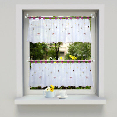 Brand Embroidery Tie Up Window Curtain Kitchen Curtain Voile Sheer Tab Window