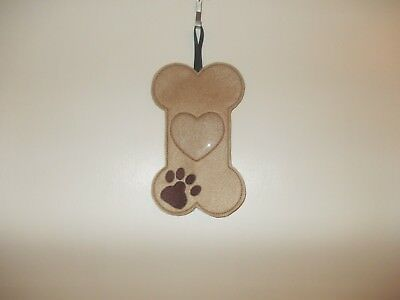Novelty Embroidered (Dog Bone) Dog Treat Bag / Pouch with Ribbon for Hanging