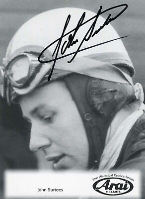 John Surtees autograph Formel 1 Motorcycle CHAMPION, signed promotion card