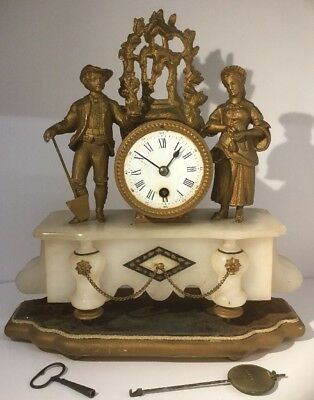 FRENCH Antique 19th Century Figural Gilt & Onyx Mantel Clock / Timepiece - RARE.